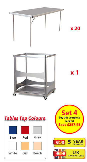 Spaceright Fast Fold Rectangular Dining Set 4 - 20 Tables And Trolley - 1830mm Wide