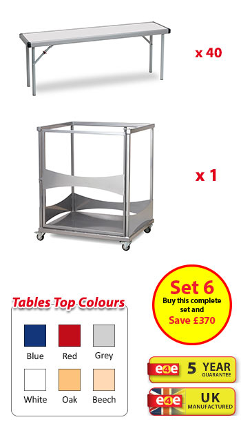 Spaceright Fast Fold Rectangular Dining Set 6 - 40 Benches And Trolley - 1830mm Wide