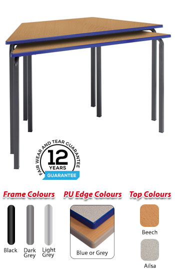 RX Crush Bent Trapezoidal Cast PU Edge Table - 1200 x 600mm