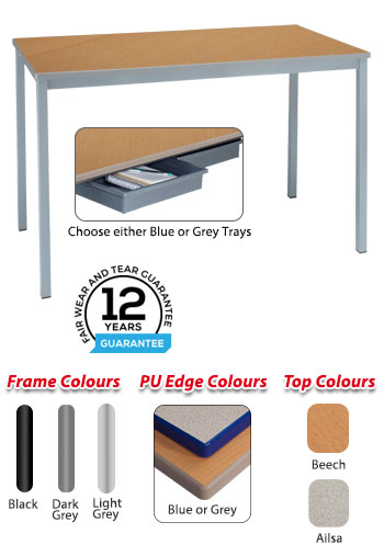 RX Fully Welded Table with Tray Runners & Trays
