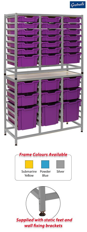 Gratnells Handy Tall Treble Column Frame Complete Set - 18 Shallow, 9 Deep And 3 Jumbo Trays