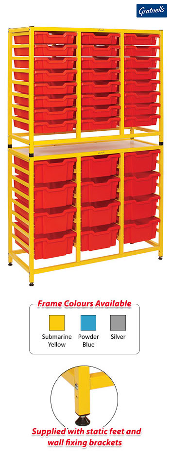Gratnells Handy Tall Treble Column Frame Complete Set - 24 Shallow And 12 Deep Trays