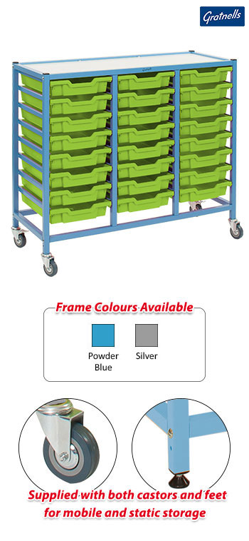 Gratnells Handy Treble Column Trolley Complete Set - 24 Shallow Trays