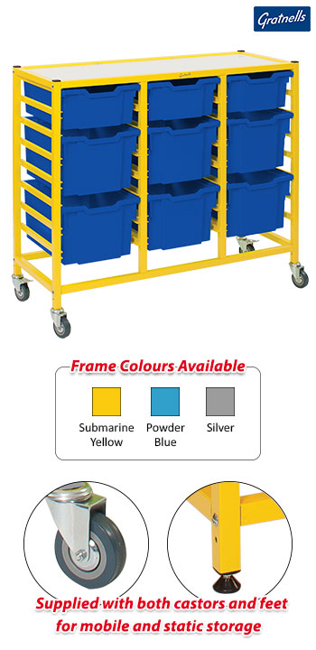 Gratnells Handy Treble Column Trolley Complete Set - 3 Deep And 6 Extra Deep Trays